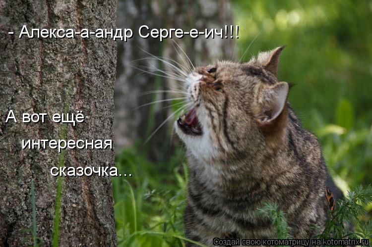 Котоматрица: - Алекса-а-андр Серге-е-ич!!! А вот ещё интересная  сказочка...