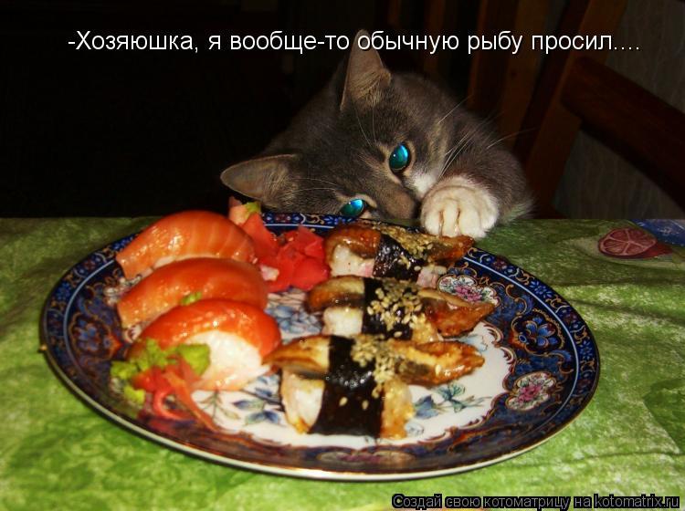 Котоматрица: -Хозяюшка, я вообще-то обычную рыбу просил....