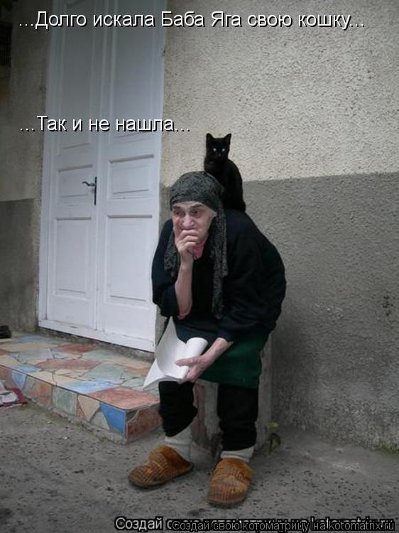Котоматрица: ...Долго искала Баба Яга свою кошку... ...Так и не нашла...
