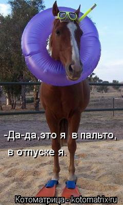 Котоматрица: -Да-да,это я  в пальто, в отпуске я.