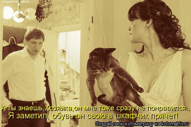 Котоматрица: А ты знаешь,Хозяйка,он мне тоже сразу не понравился... Я заметил, обувь он свою в шкафчик прячет!