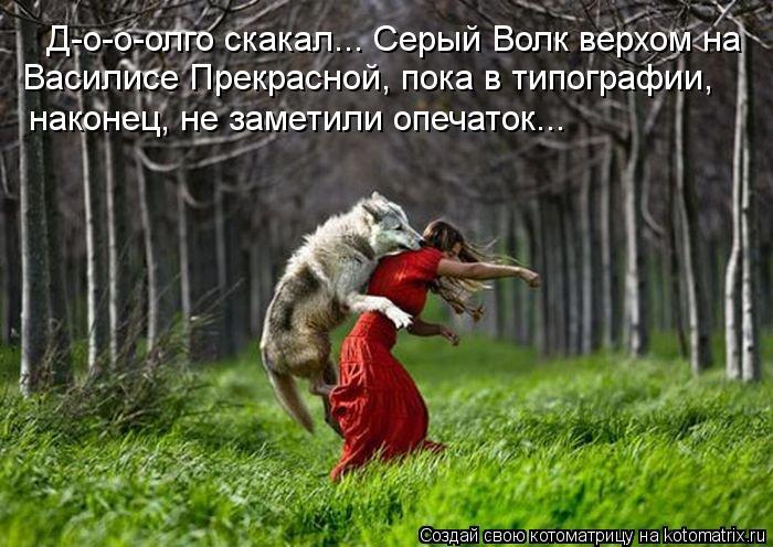 Котоматрица: Д-о-о-олго скакал... Серый Волк верхом на  Василисе Прекрасной, пока в типографии,  наконец, не заметили опечаток...