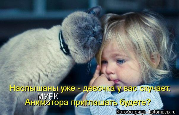 Котоматрица: Наслышаны уже - девочка у вас скучает. Аниматора приглашать будете? / МУРК