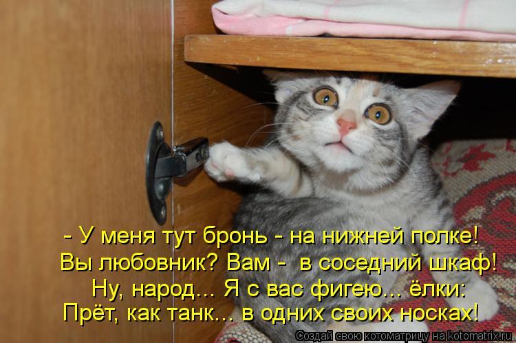 Котоматрица: - У меня тут бронь - на нижней полке! Вы любовник? Вам -  в соседний шкаф! Ну, народ... Я с вас фигею... ёлки: Прёт, как танк... в одних своих носках!