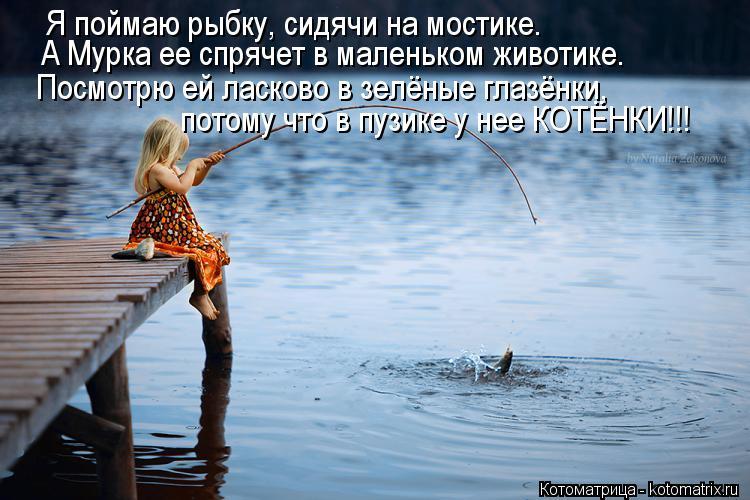 Котоматрица: Я поймаю рыбку, сидячи на мостике. Посмотрю ей ласково в зелёные глазёнки, потому что в пузике у нее КОТЁНКИ!!! А Мурка ее спрячет в маленьком