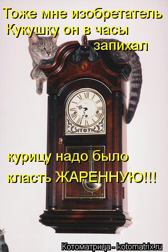 Котоматрица: Тоже мне изобретатель Кукушку он в часы  запихал курицу надо было класть ЖАРЕННУЮ!!!