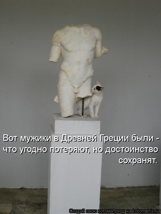 Котоматрица: Вот мужики в Древней Греции были - что угодно потеряют, но достоинство сохранят.