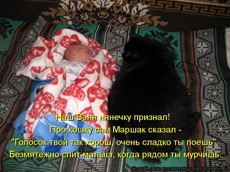 """Котоматрица: Наш Ваня нянечку признал! Про кошку сам Маршак сказал -  """"Голосок твой так хорош, очень сладко ты поешь"""". Безмятежно спит малыш, когда рядом ты"""
