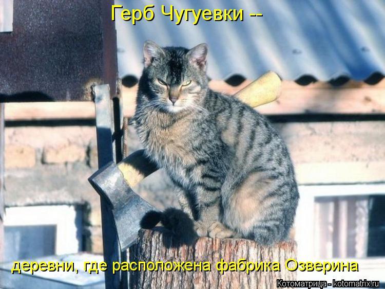Котоматрица: Герб Чугуевки -- деревни, где расположена фабрика Озверина
