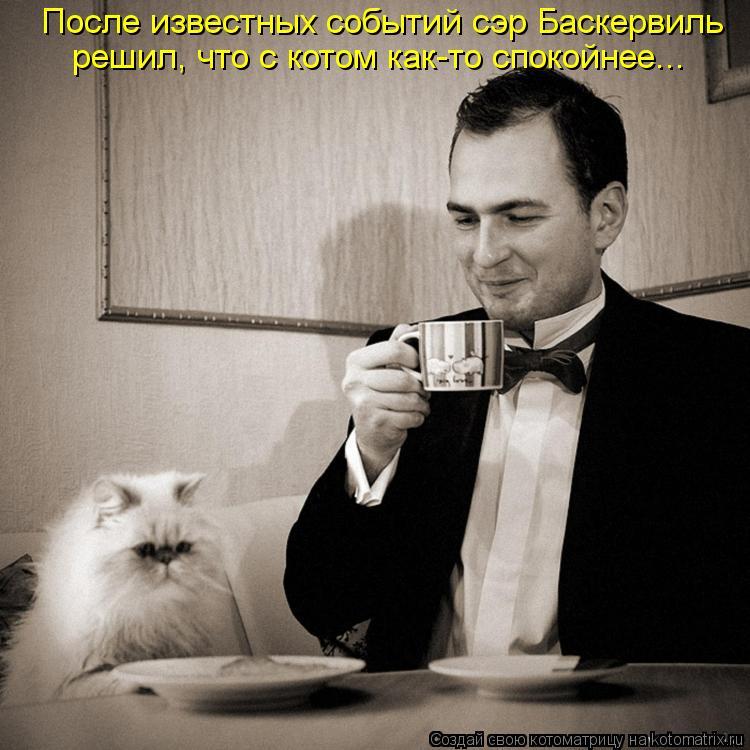 Котоматрица: После известных событий сэр Баскервиль решил, что с котом как-то спокойнее...