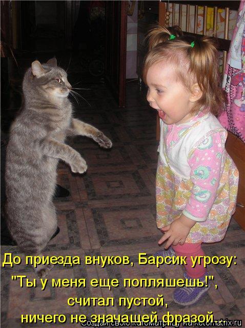 """Котоматрица: До приезда внуков, Барсик угрозу: """"Ты у меня еще попляшешь!"""", считал пустой, ничего не значащей фразой..."""