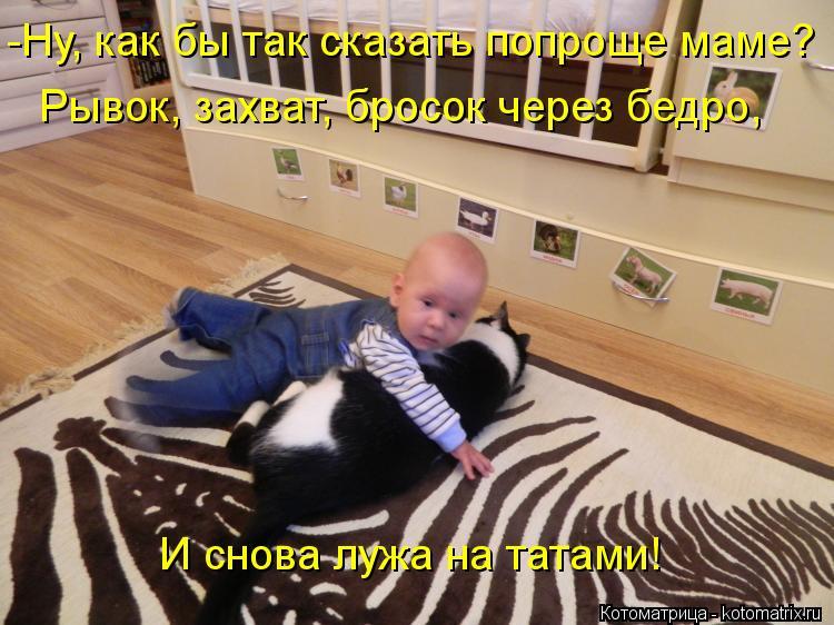 Котоматрица: -Ну, как бы так сказать попроще маме? Рывок, захват, бросок через бедро, И снова лужа на татами!
