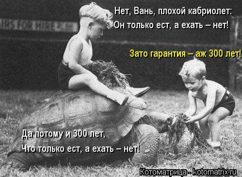 Котоматрица: Нет, Вань, плохой кабриолет: Он только ест, а ехать – нет! Да потому и 300 лет, Что только ест, а ехать – нет! Зато гарантия – аж 300 лет!
