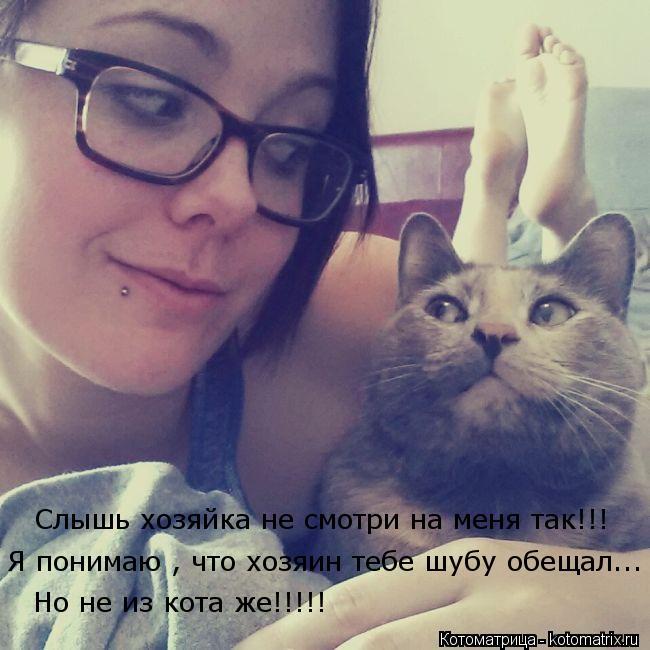 Котоматрица: Но не из кота же!!!!! Я понимаю , что хозяин тебе шубу обещал... Слышь хозяйка не смотри на меня так!!!