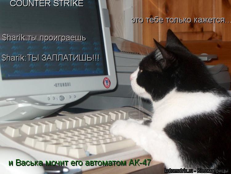 Котоматрица: COUNTER STRIKE $harik:ты проиграешь это тебе только кажется... и Васька мочит его автоматом АК-47 $harik:ТЫ ЗАПЛАТИШЬ!!!