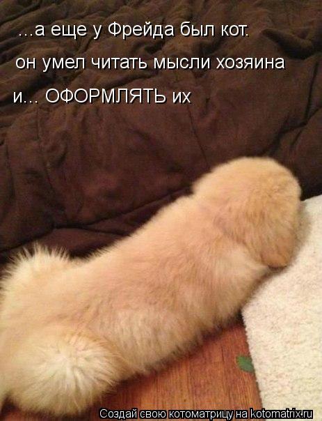 Котоматрица: ...а еще у Фрейда был кот. он умел читать мысли хозяина и... ОФОРМЛЯТЬ их