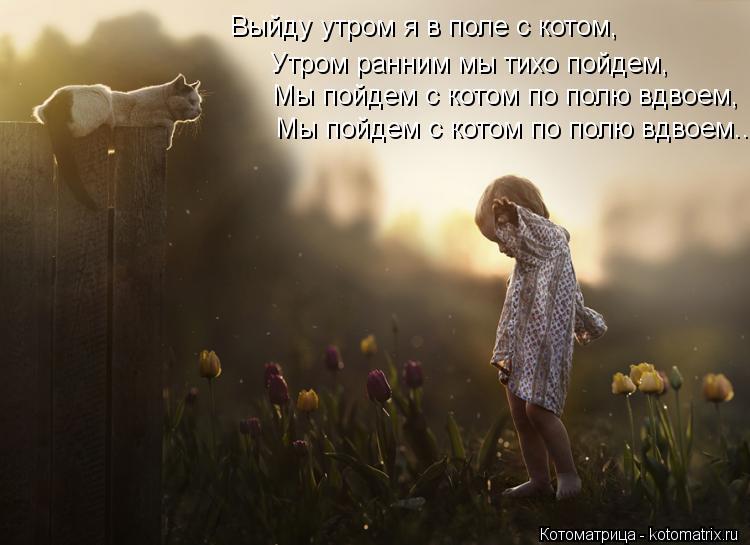 Котоматрица: Выйду утром я в поле с котом, Утром ранним мы тихо пойдем, Мы пойдем с котом по полю вдвоем, Мы пойдем с котом по полю вдвоем...