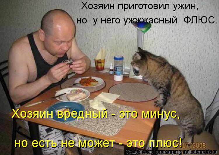 Котоматрица: Хозяин приготовил ужин,  но  у него ужжжасный  ФЛЮС... Хозяин вредный - это минус,  но есть не может - это плюс!
