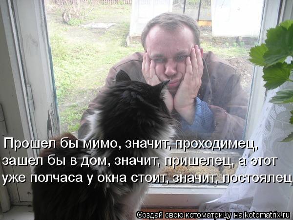 Котоматрица: Прошел бы мимо, значит, проходимец, зашел бы в дом, значит, пришелец, а этот  уже полчаса у окна стоит, значит, постоялец.