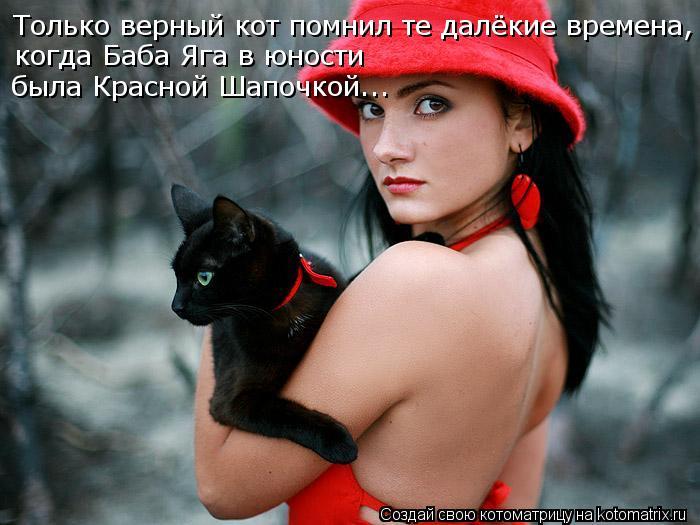 Котоматрица: Только верный кот помнил те далёкие времена, когда Баба Яга в юности  была Красной Шапочкой...