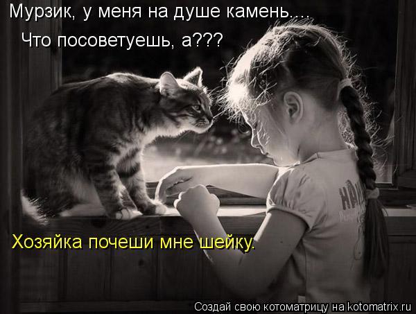 Котоматрица: Мурзик, у меня на душе камень.... Что посоветуешь, а??? Хозяйка почеши мне шейку.