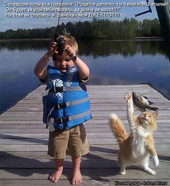 """Котоматрица: Соседские коты все говорили: """"Родится дитятко, ты берегись, Василий! Он будет за усы тебя таскать, за уши и за хвост!!!"""" Не стал их слушать, и  Ва"""