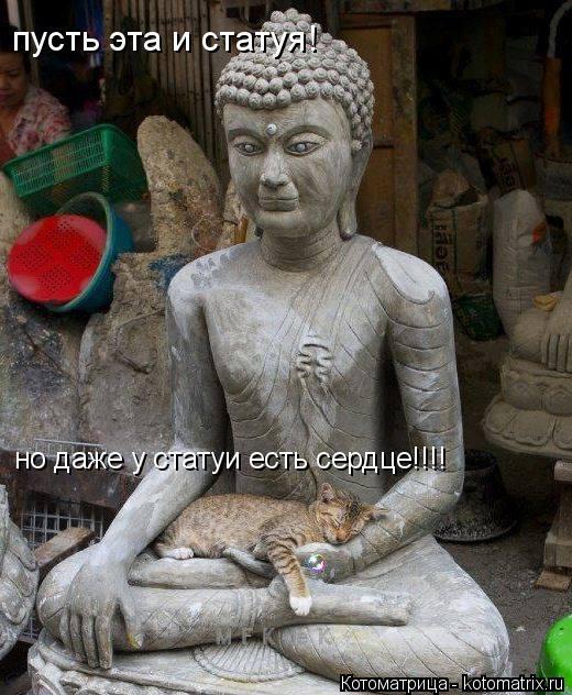 Котоматрица: пусть эта и статуя! но даже у статуи есть сердце!!!!