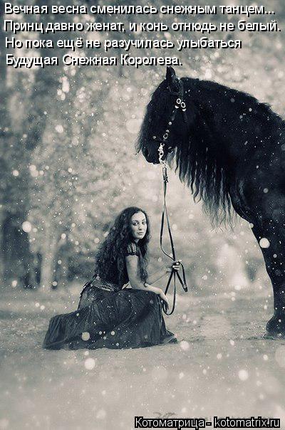 Котоматрица: Вечная весна сменилась снежным танцем... Принц давно женат, и конь отнюдь не белый. Но пока ещё не разучилась улыбаться Будущая Снежная Коро