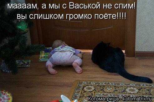 Котоматрица: маааам, а мы с Васькой не спим! вы слишком громко поёте!!!!