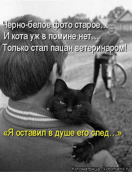 Котоматрица: Черно-белое фото старое… И кота уж в помине нет… Только стал пацан ветеринаром! «Я оставил в душе его след…»