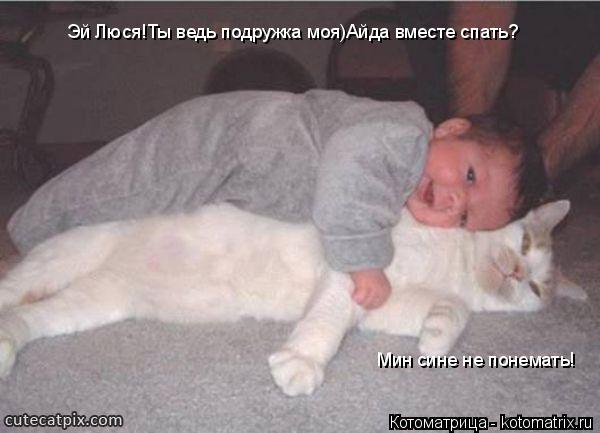 Котоматрица: Эй Люся!Ты ведь подружка моя)Айда вместе спать? Мин сине не понемать!