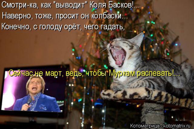 """Котоматрица: Смотри-ка, как """"выводит"""" Коля Басков!... Наверно, тоже, просит он колбаски... Конечно, с голоду орёт, чего гадать, Сейчас не март, ведь, чтобы Мурк"""