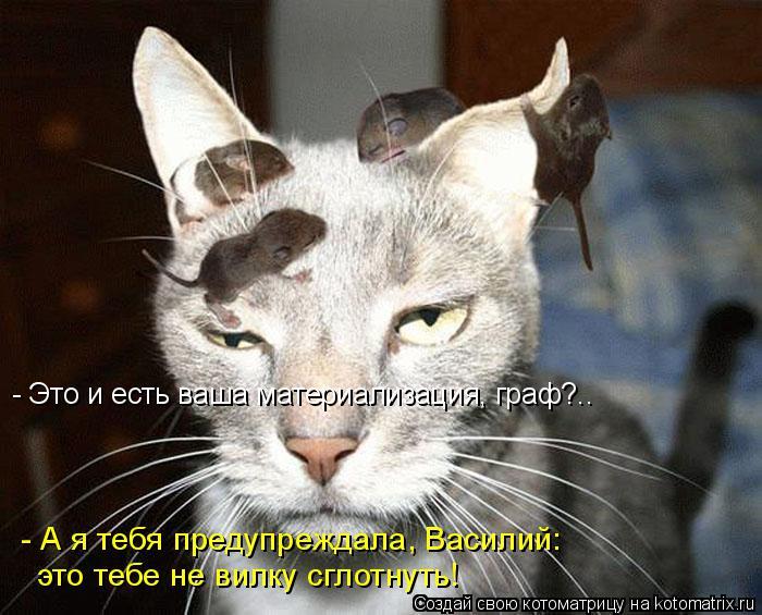 Котоматрица: - А я тебя предупреждала, Василий: это тебе не вилку сглотнуть! - Это и есть ваша материализация, граф?..