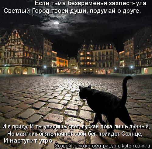 Котоматрица: Если тьма безвременья захлестнула Светлый Город твоей души, подумай о друге. И я приду. И ты увидишь свет, пускай пока лишь лунный, Но маятни