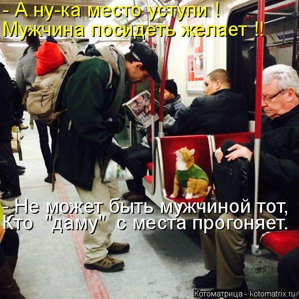 """Котоматрица: - А ну-ка место уступи ! Мужчина посидеть желает !! - Не может быть мужчиной тот, Кто  """"даму""""  с места прогоняет."""