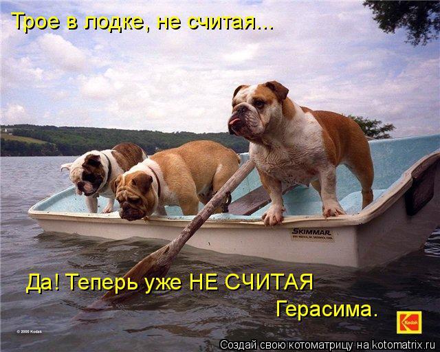 Котоматрица: Трое в лодке, не считая... Да! Теперь уже НЕ СЧИТАЯ Герасима.