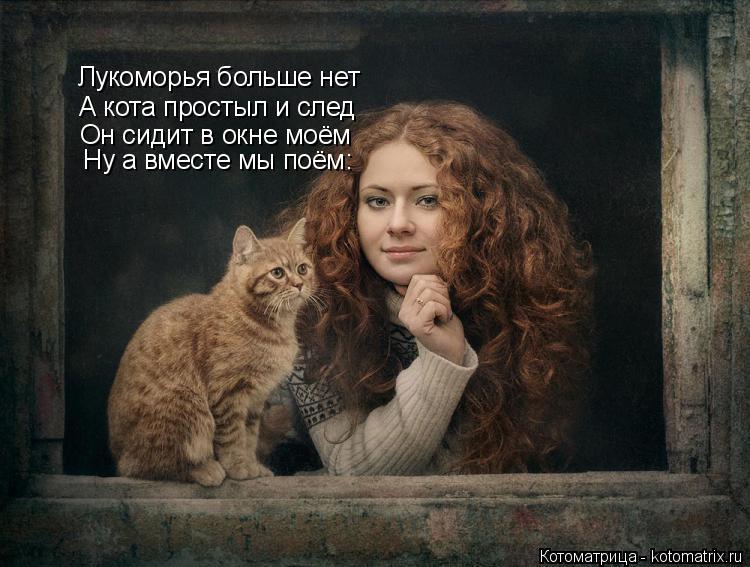 Котоматрица: Лукоморья больше нет Лукоморья больше нет А кота простыл и след Он сидит в окне моём Ну а вместе мы поём: