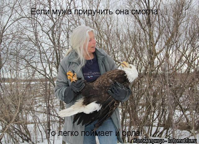 Котоматрица: Если мужа приручить она смогла То легко поймает и орла!