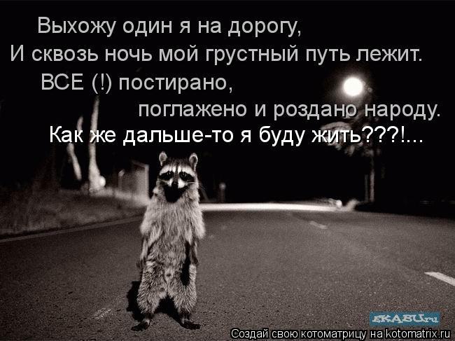 Котоматрица: Как же дальше-то я буду жить???!... Выхожу один я на дорогу, И сквозь ночь мой грустный путь лежит. ВСЕ (!) постирано,  поглажено и роздано народу.