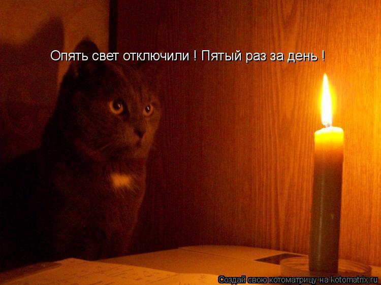 Котоматрица: Опять свет отключили ! Пятый раз за день !