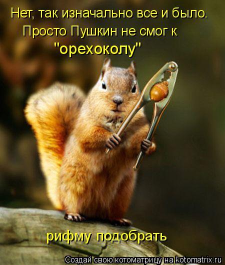 """Котоматрица: Нет, так изначально все и было. Просто Пушкин не смог к """"орехоколу"""" рифму подобрать"""