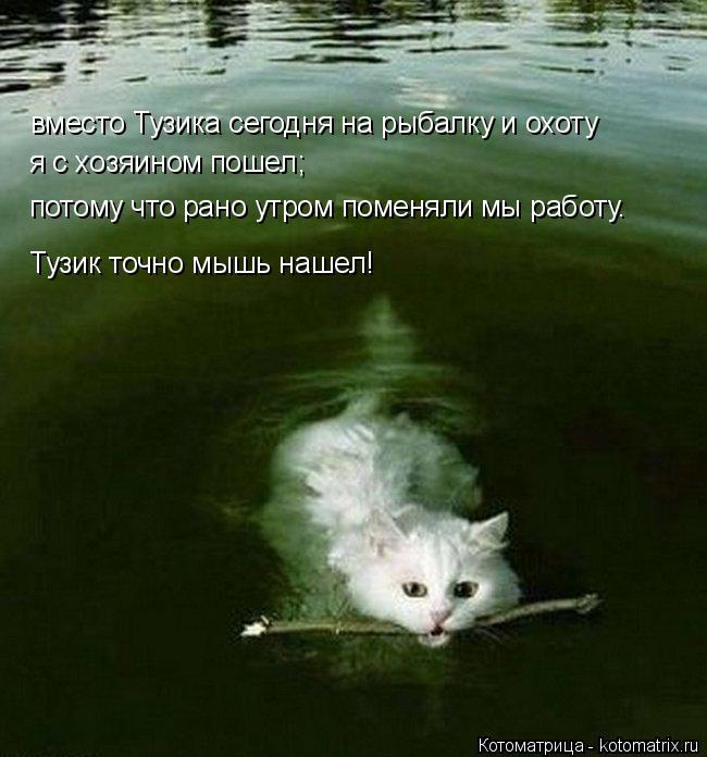 Котоматрица: вместо Тузика сегодня на рыбалку и охоту Тузик точно мышь нашел! я с хозяином пошел; потому что рано утром поменяли мы работу.