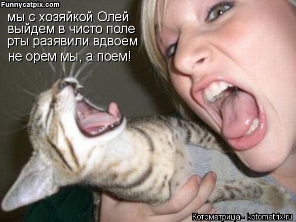 Котоматрица: мы с хозяйкой Олей выйдем в чисто поле рты разявили вдвоем не орем мы, а поем!