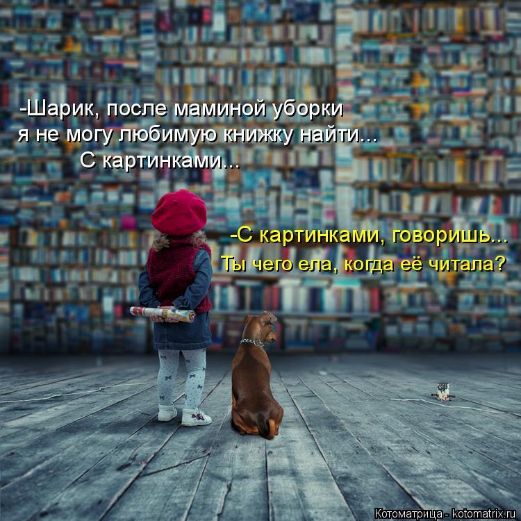 Котоматрица: я не могу любимую книжку найти... С картинками... -С картинками, говоришь... Ты чего ела, когда её читала? -Шарик, после маминой уборки