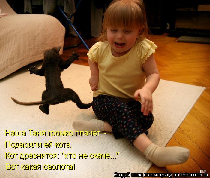 """Котоматрица: Подарили ей кота, Кот дразнится: """"хто не скаче..."""" Вот какая сволота! Наша Таня громко плачет, -"""