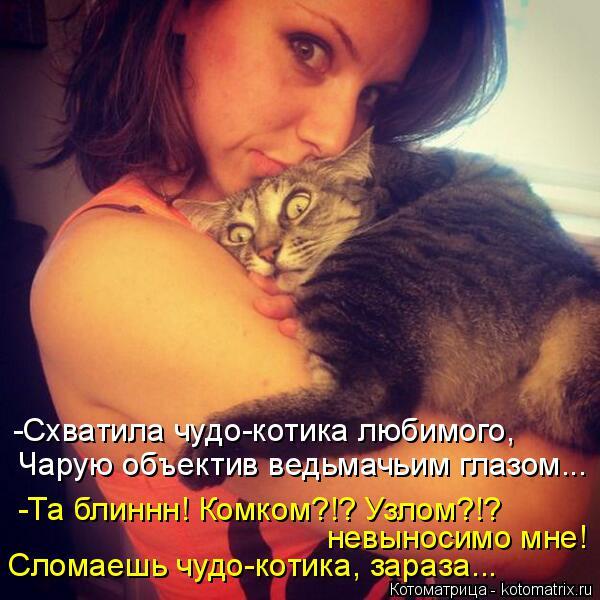 Котоматрица: -Схватила чудо-котика любимого, Чарую объектив ведьмачьим глазом... -Та блиннн! Комком?!? Узлом?!? невыносимо мне! Сломаешь чудо-котика, зараза.