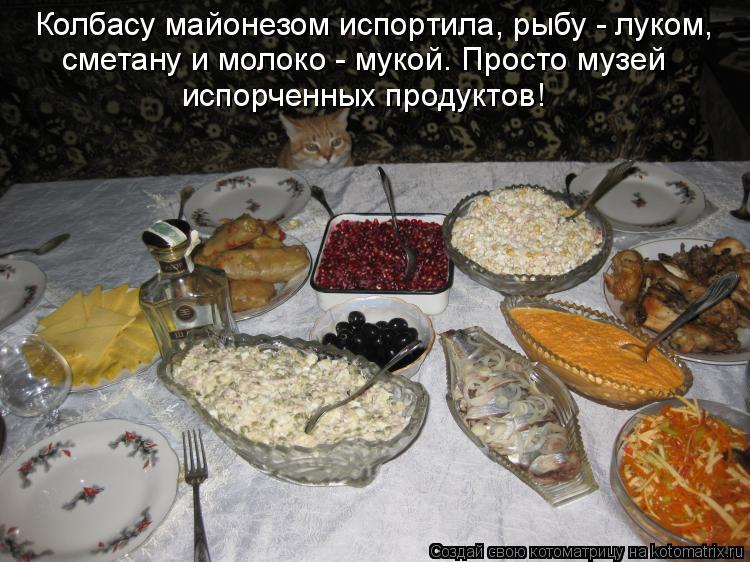 Котоматрица: Колбасу майонезом испортила, рыбу - луком, сметану и молоко - мукой. Просто музей испорченных продуктов!