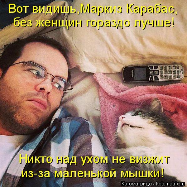 Котоматрица: Вот видишь,Маркиз Карабас, без женщин гораздо лучше! Никто над ухом не визжит из-за маленькой мышки!