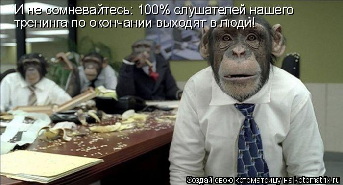 Котоматрица: И не сомневайтесь: 100% слушателей нашего тренинга по окончании выходят в люди!