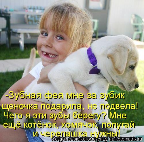 Котоматрица: -Зубная фея мне за зубик щеночка подарила, не подвела! Чего я эти зубы берегу? Мне  и черепашка нужны! ещё котёнок, хомячок, попугай